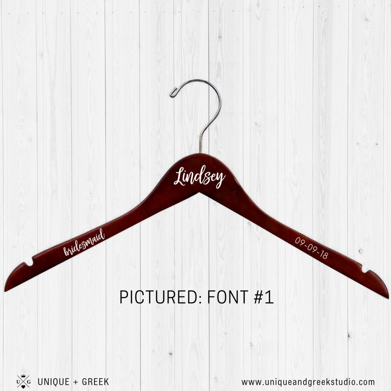 DELUXE Personalized Hanger | Dress Hanger | Name, Date, Title | Bridesmaid Gift | Wedding Party Gift