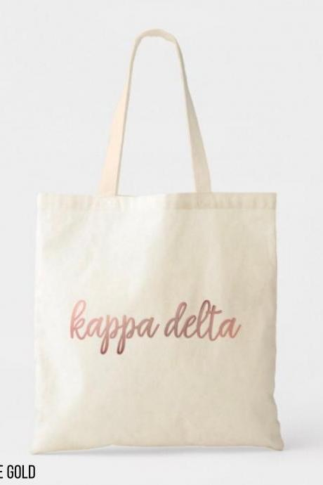 Sorority Tote | Greek Canvas Bag | Script Style | Full Name | Foil Glitter Metallic | Gold, Rose Gold, Silver | Bid Day | Big Little Gift