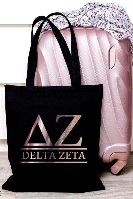 Sorority Tote | Greek Canvas Bag | Letters | Classic Letters | Foil Glitter Metallic | Gold, Rose Gold, Silver | Bid Day | Big Little Gift