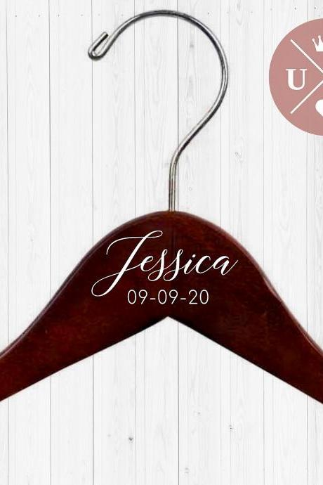 DOUBLE Personalized Hangers | Dress Hanger | Name and Date | Bridesmaid Gift | Wedding Party Gift