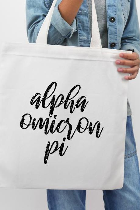 Sorority Tote | Greek Canvas Bag | Brush Script Style | Chapter Name | Greek Letters | Foil Glitter Metallic | Bid Day | Big Little Gift