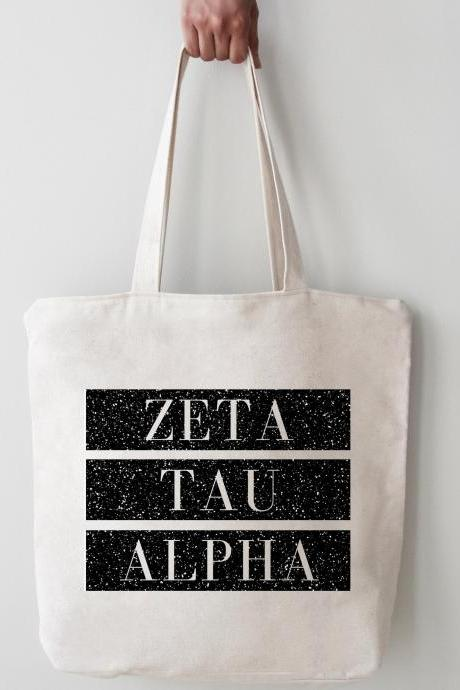 Sorority Tote | Greek Canvas Bag | Block Style | Chapter Name | Greek Letters | Foil Glitter Metallic | Bid Day | Big Little Gift
