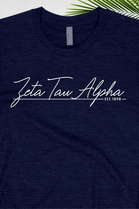 Sorority Shirt | Greek Unisex T-Shirt | EST Year Style | Chapter Name | Greek Letters | Foil Glitter Metallic | Bid Day | Big Little Gift