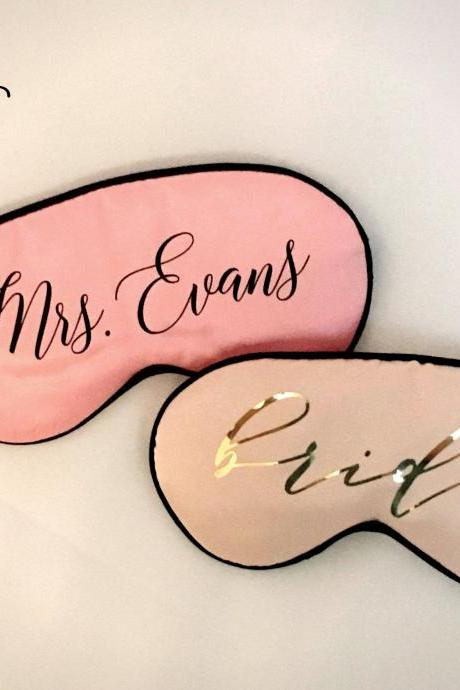 Personalized Sleep Mask | Custom Name Eye Mask | Silk Satin Mask | Bachelorette Party Favor | Bridal Shower Gift | Bridesmaid Proposal Gift