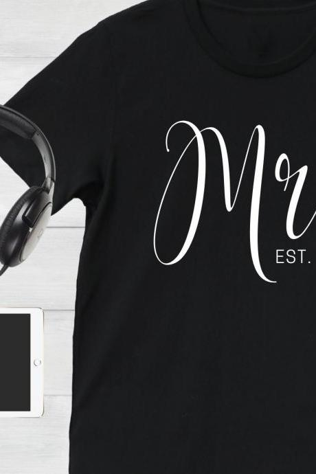 Personalized Mr Shirt, Custom Date, Newlyweds, Couples, Honeymoon, Just Married, Wedding Gift, Bridal Shower, Engagement, His and Hers