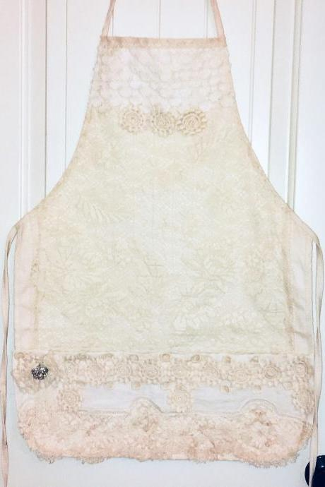 Vintage Lace Apron with Embellishment | Full Size Double Pocket Bib Apron | Farmhouse Apron - Handmade | Vintage Lace | Made in USA | Cotton