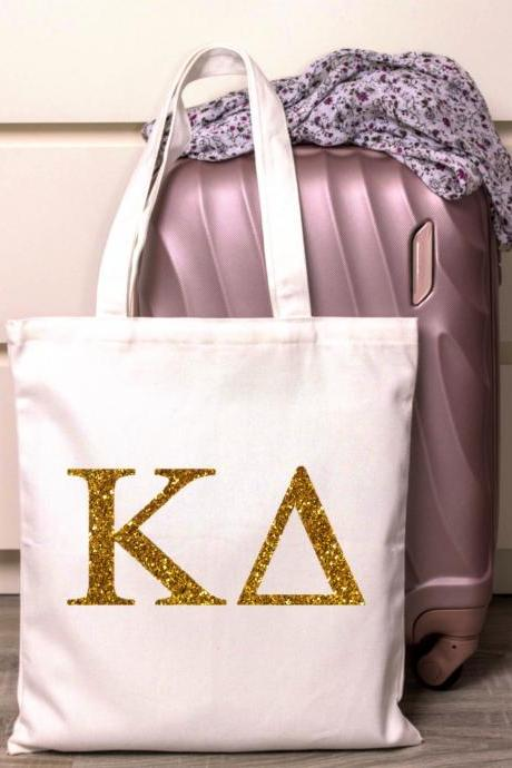 Sorority Tote | Greek Canvas Bag | Letters | Traditional | Foil Glitter Metallic | Gold, Rose Gold, Silver | Bid Day | Big Little Gift