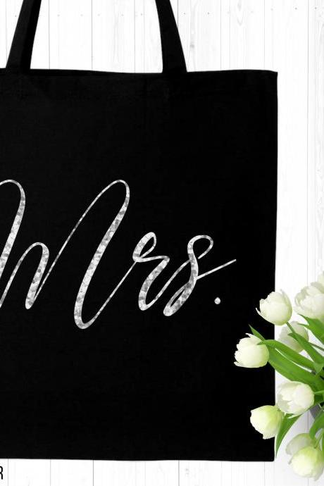 Mrs Tote Bag | Bride Canvas Bag | Wedding Keepsake | Script Font | Gold Foil Glitter Metallic | Engagement | Bridal Shower Gift | Future Mrs