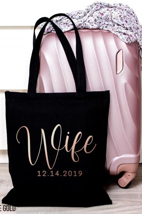 Personalized Wife Tote | Custom Bride Canvas Bag | Wedding Date | Gold Foil Glitter Metallic | Year EST | Engagement | Bridal Shower Gift