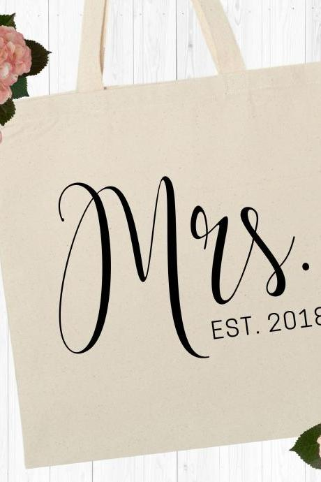 Personalized Mrs Tote | Custom Bride Canvas Bag | Wedding Date | Gold Foil Glitter Metallic | Year EST | Engagement | Bridal Shower Gift
