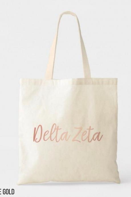Sorority Tote | Greek Canvas Bag | Script Name | Foil Glitter Metallic | Gold, Rose Gold, Silver | Bid Day | Big Little Gift