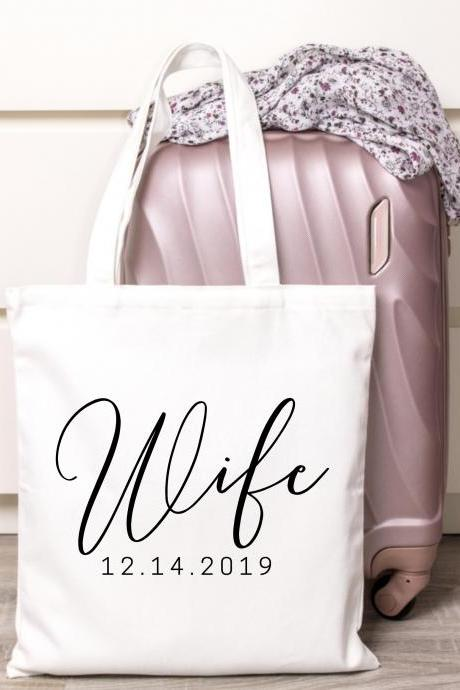 Personalized Wife Tote | Custom Bride Canvas Bag | Wedding Date | Gold Foil Glitter Metallic | Year EST | Engagement. | Bridal Shower Gift