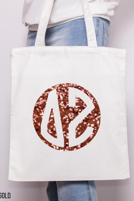 Sorority Tote | Greek Canvas Bag | Round Monogram | Foil Glitter Metallic | Gold, Rose Gold, Silver | Bid Day | Big Little Gift.