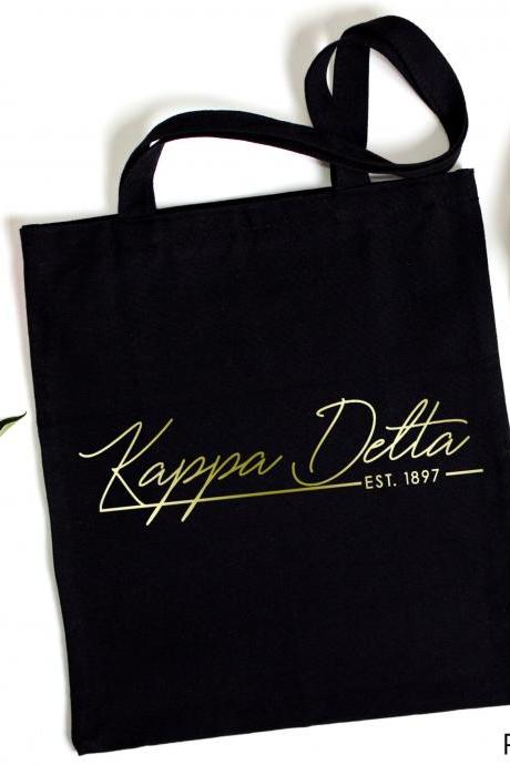 Sorority Tote | Greek Canvas Bag | Script Name | EST Year | Foil Glitter Metallic | Gold, Rose Gold, Silver | Bid Day | Big Little Gift.