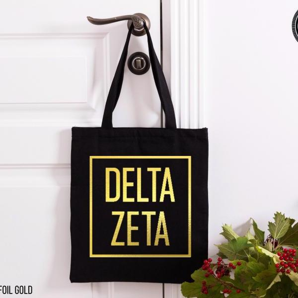 Sorority Tote | Greek Canvas Bag | Square Frame | Modern Style | Foil Glitter Metallic | Gold, Rose Gold, Silver | Bid Day | Big Little Gift.